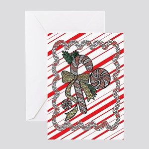 Stained Glass Candy Cane Greeting Card