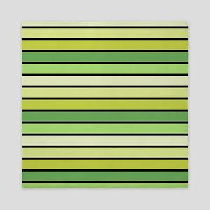 Monochrome Stripes: Shades of Green Queen Duvet