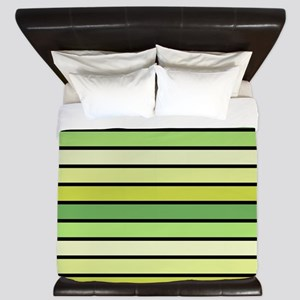 Monochrome Stripes: Shades of Green King Duvet