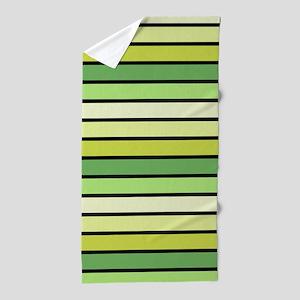 Monochrome Stripes: Shades of Green Beach Towel
