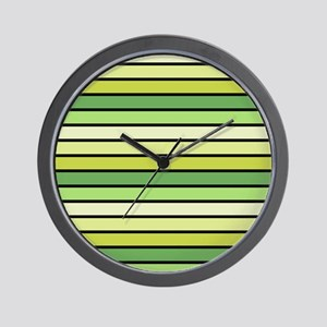 Monochrome Stripes: Shades of Green Wall Clock