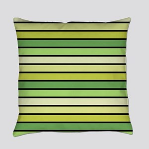 Monochrome Stripes: Shades of Gree Everyday Pillow