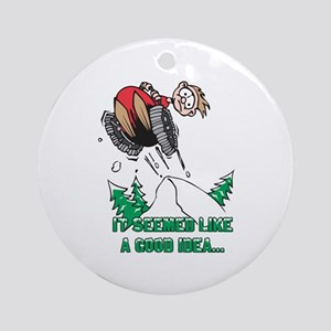 Funny Snowmobile Ornament (Round)