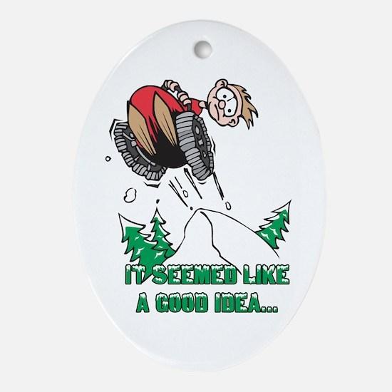 Funny Snowmobile Oval Ornament