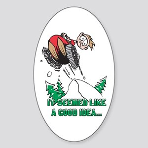 Funny Snowmobile Oval Sticker