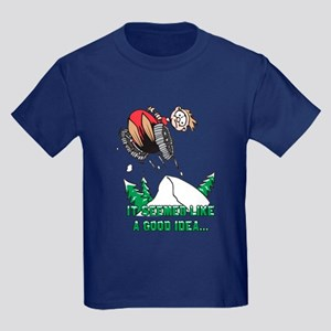 Funny Snowmobile Kids Dark T-Shirt