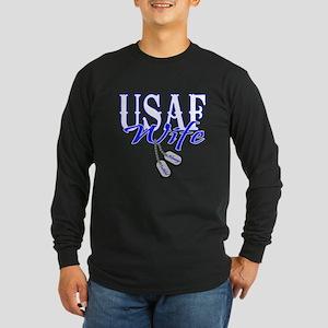 Air Force Wife Dog Tag Long Sleeve Dark T-Shirt