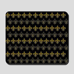 FLEUR DE LIS BLACK AND GOLD BLACKGROUND Mousepad