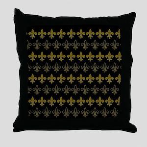 FLEUR DE LIS BLACK AND GOLD BLACKGROU Throw Pillow