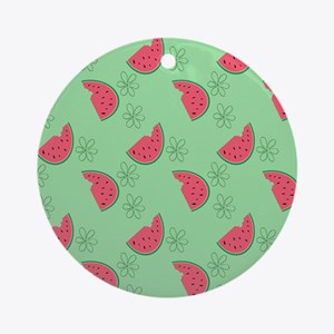 Watermelon Flowers Round Ornament