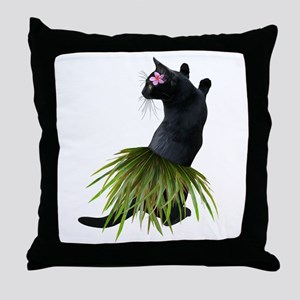 Hula Cat Throw Pillow