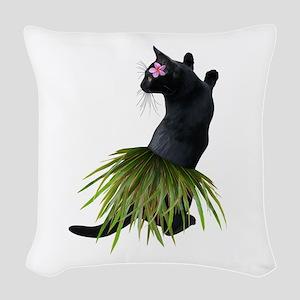 Hula Cat Woven Throw Pillow