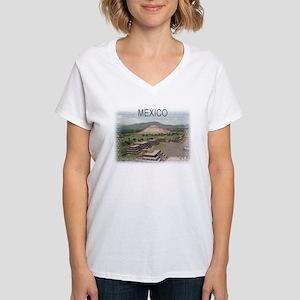 Pyramids of Mexico Women's V-Neck T-Shirt