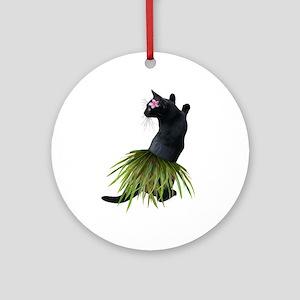 Hula Cat Round Ornament