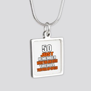 50 Just Remember Birthday Silver Square Necklace