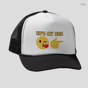 Emoji He's My Bae Kids Trucker hat