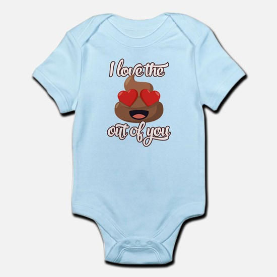 emoji love the poop out of you baby light bodysuit