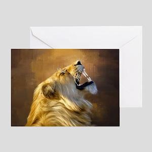 Roaring lion portrait Greeting Cards