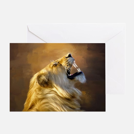 Roaring lion portrait Greeting Cards