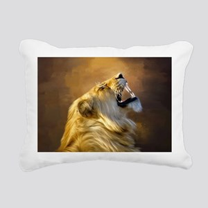 Roaring lion portrait Rectangular Canvas Pillow