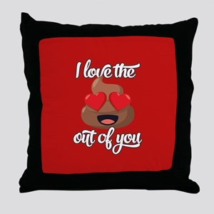 Emoji Love The Poop Out of You Throw Pillow