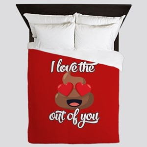 Emoji Love The Poop Out of You Queen Duvet