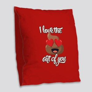 Emoji Love The Poop Out of You Burlap Throw Pillow