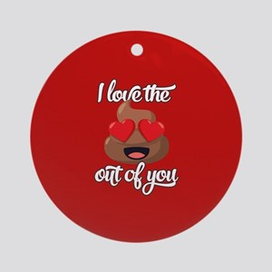 Emoji Love The Poop Out of You Round Ornament