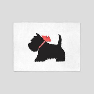 Black Westie Dog Art 5'x7'Area Rug