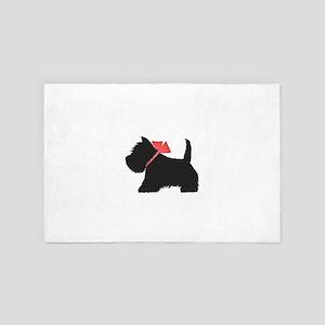 Black Westie Dog Art 4' x 6' Rug