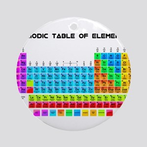 Periodic Table of Elements in Neon Round Ornament