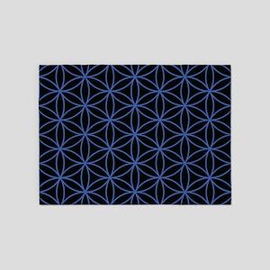 Flower of Life Ptn Blue/Blk 5'x7'Area Rug
