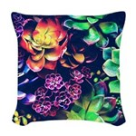Colorful Plants Woven Throw Pillow