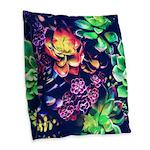 Colorful Plants Burlap Throw Pillow