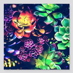 "Colorful Plants Square Car Magnet 3"" x 3"""