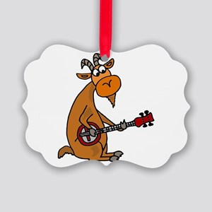 Goat Playing Banjo Picture Ornament