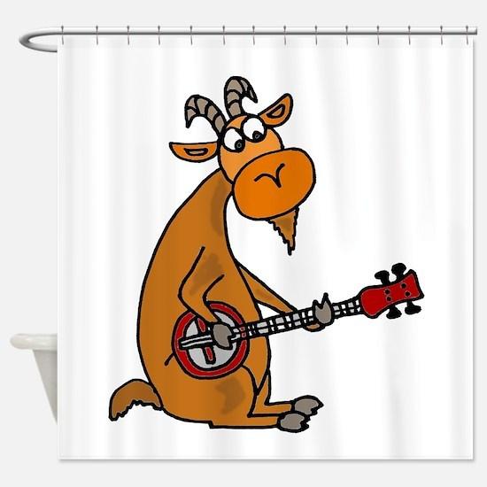 Goat Playing Banjo Shower Curtain