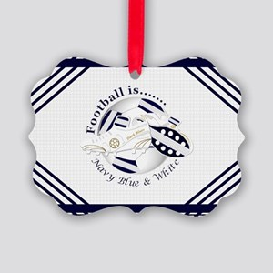 Navy Blue and White Football Soccer Ornament