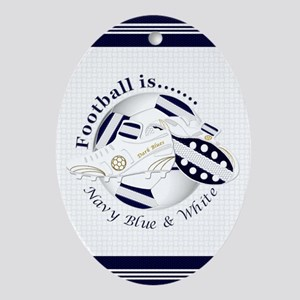 Navy Blue and White Football Soccer Oval Ornament