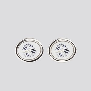 Navy Blue and White Football Soccer Oval Cufflinks