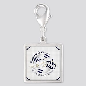 Navy Blue and White Football Soccer Charms