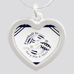 Navy Blue and White Football Soccer Necklaces