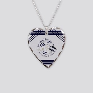 Navy Blue and White Football Soccer Necklace