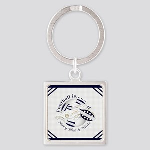 Navy Blue and White Football Soccer Keychains
