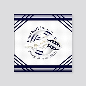 Navy Blue and White Football Soccer Sticker