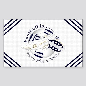 Navy Blue and White Football Soccer Sticker