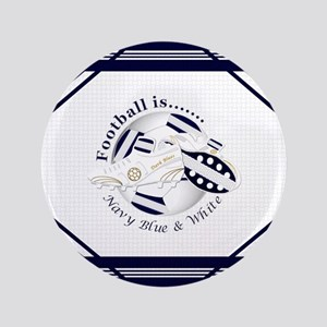 Navy Blue and White Football Soccer Button