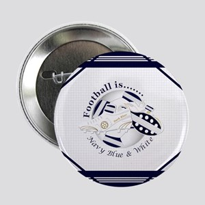 """Navy Blue and White Football Soccer 2.25"""" Button ("""