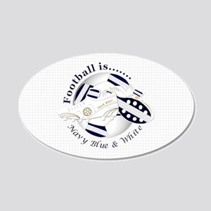 Navy Blue and White Football Soccer Wall Decal