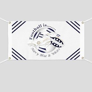Navy Blue and White Football Soccer Banner